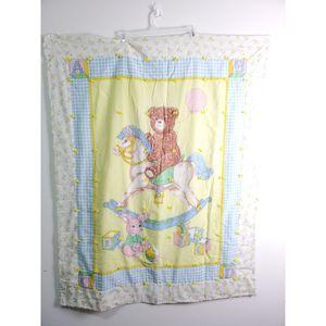 Vtg baby blanket quilt bear on a rocking horse